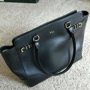Ralph Lauren Zipped Black Leather Tote